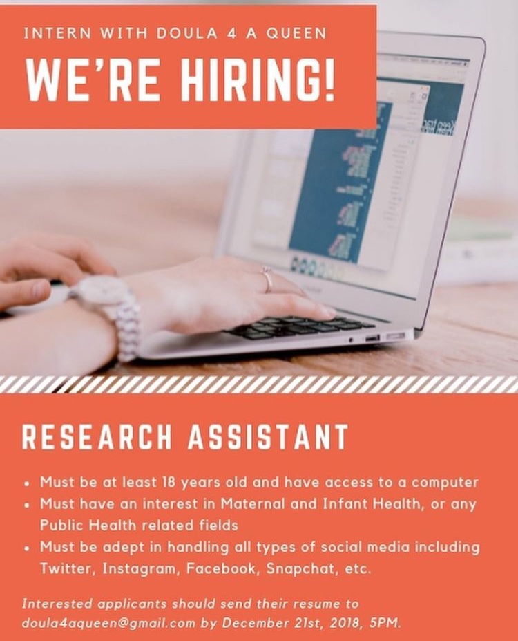 Job Opportunity: Doula 4 A Queen is Looking for a Research Assistant!